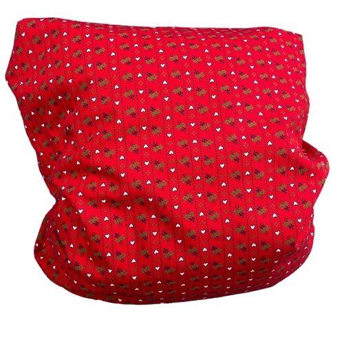 Zirbenkissen rot mit kleinen weissen Herzen 40x40cm
